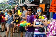 Songkran strzelający Fotografia Royalty Free