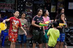 Songkran the Thai New Year`s festival. Bangkok, Thailand - April 13, 2008 Stock Photography