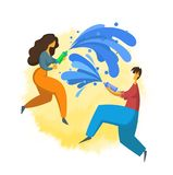 Songkran, Thai New Year`s festival. Man and woman pouring water on each other. Vector illustration in flat style. Isolated on white background Royalty Free Stock Photo