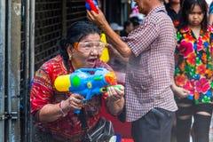 Songkran Thailandese new year celebration Silom Bangkok stock photos
