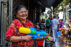 Songkran Thailandese new year celebration Silom Bangkok royalty free stock photos