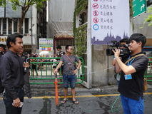 Songkran vattenfestival på den Silom vägen Fotografering för Bildbyråer