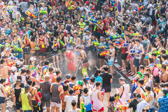 Songkran Water Festival. Annual Songkran Water Festival in downtown Bangkok, Thailand - 2016.  Massive crowds gather to squirt waterguns all over the streets Stock Photo