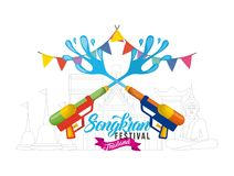 Songkran water festival with guns garland poster. Vector illustration Royalty Free Stock Photo