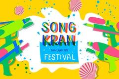 Songkranfestival 2019 De Thaise Elementen van het Waterfestival, vectorillustratie royalty-vrije stock fotografie
