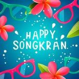 Songkranfestival in Thailand, Thais Nieuwjaar Frangipanibloemen, zonnebril, waterplonsen, vectorillustratie stock foto's