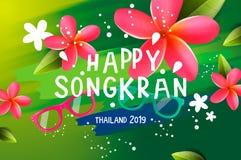 Songkranfestival in Thailand, Thais Nieuwjaar Frangipanibloemen, zonnebril, waterplonsen, vectorillustratie stock foto