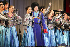 Songs performance. Folk ensemble Kazachya Volnitsa in Rostov-on-Don, Russia. October 2014. Beautiful ethnic dance and patriotic songs Stock Photo