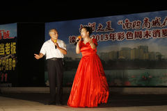 Songs on a stage, north china. LUANNAN CITY - JULY 19: Songs on a stage On July 19, 2013, luannan city, north china Royalty Free Stock Photography