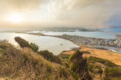 Songsan Ilchulbong view point in Jeju island, South Korea.  stock images