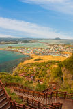 Songsan Ilchulbong view point in Jeju island, South Korea.  Stock Photos