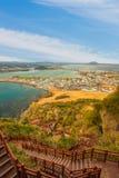 Songsan Ilchulbong view point in Jeju island, South Korea.  stock photos