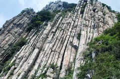 Songshan Cliff of books geological formations China. The cliff of books geological formations on the sanhuangzhai plank walkway on Mount Song in Henan Province royalty free stock images
