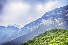 Songshan Mountain Range landscape China. The mountainous area and landscape of Songshan or Mount Song in Henan Province China on a sunny day royalty free stock photos