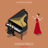 Songstress solo female singer piano accompaniment Stock Image