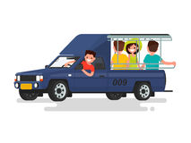 Songteo or tuk tuk taxi with passengers. Vector illustration. Of a flat design Stock Photography