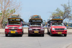 Songthaew taxi in island Koh Samui, Thailand Stock Photography