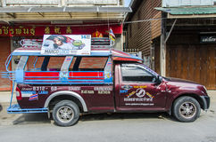 Songthaews taxi Thailand Royalty Free Stock Photo
