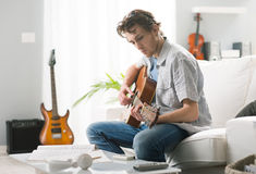 Songwriter composing a song Royalty Free Stock Images
