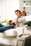 Songwriter composing a song Stock Images