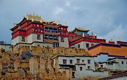 Songzanlin Lamasery. That was described as small Potala Palace is the maximal Tibetan buddhism lamasery of Yunnan. It was located in the Diqing tibetan Stock Photos