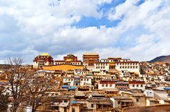 Songzanlin Lamasery of Yunnan. Songzanlin Lamasery. It was described as small Potala Palace is the maximal Tibetan buddhism lamasery of Yunnan. It was located in Royalty Free Stock Photography