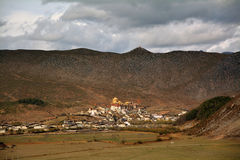 The Songzanlin monastery famous temple in tibet. With mountain landscape Stock Photography