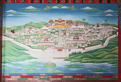 Songzanlin Monastery Painting. A painting of the Songzanlin Monastery inside the entrance to the monastery in Zhongdian, Yunnan province, China royalty free stock photos