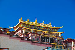 Songzanlin Monastery at Shangr-la, Yunnan China. Main building of Songzanlin Monastery, the largest Tibetan monastery at Shangr-la, Yunnan China Royalty Free Stock Photo