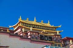 Songzanlin Monastery at Shangr-la, Yunnan China. Main building of Songzanlin Monastery, the largest Tibetan monastery at Shangr-la, Yunnan China royalty free stock photo