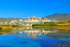 Songzanlin-Tempel alias das Kloster Ganden Sumtseling, ist ein tibetanisches buddhistisches Kloster in Zhongdian-Stadt (Shangri-L Lizenzfreies Stockfoto