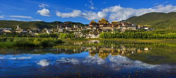 The landscape of Songzanlin Monastery. Songzanlin Temple, Ganden Sumtseling Monastery, a Tibetan Buddhist monastery in Zhongdian city Shangri-La, Yunnan province Stock Image