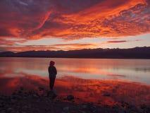 Sonhador, silhueta da mulher que está ao longo do lago no por do sol, força humana, conceito da psicologia fotos de stock royalty free