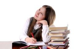 Sonhando a estudante. Isolado no branco Imagens de Stock