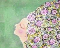 Sonhando a mulher da ternura com as flores em seu cabelo Imagem de Stock Royalty Free