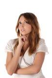 Sonhando a mulher nova (isolada) Imagens de Stock