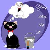 Sonhando o gato dos desenhos animados Fotografia de Stock