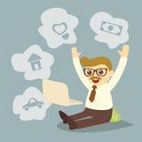 Sonhando o homem ao trabalhar Fotografia de Stock Royalty Free