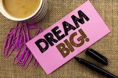Sonho da escrita do texto da escrita grande Ideia do desafio da estratégia da visão do sonho do alvo do plano da motivação do sig Foto de Stock