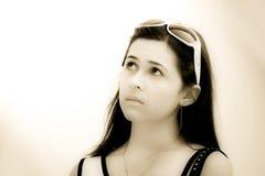 Sonho da menina do Sepia Fotografia de Stock