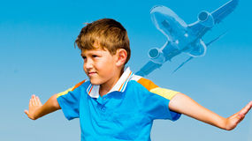 Sonho das crianças do flying_ imagens de stock