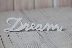 Sonho de madeira da palavra Fotografia de Stock