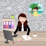 Sonho de umas férias no escritório ilustração do vetor