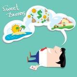 Sonho do homem de negócio Ilustração dos desenhos animados Fotografia de Stock Royalty Free
