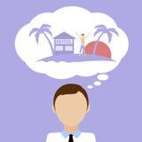Sonho do homem sobre férias Imagens de Stock
