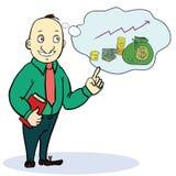 Sonho do homem sobre o dinheiro Desenhos animados do conceito Imagens de Stock Royalty Free