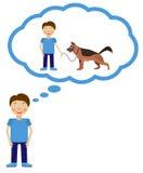 Sonho do menino sobre ter o cão Imagens de Stock Royalty Free