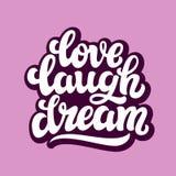 Sonho do riso do amor Texto da tipografia Ilustração do Vetor