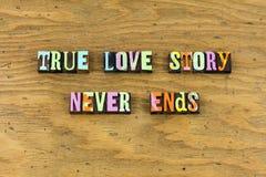 Sonho verdadeiro da história de amor para apreciar a tipografia fotografia de stock