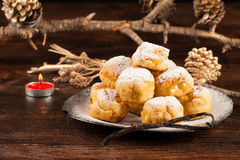 Sonhos. A traditional Brazilian and Portuguese Christmas treat Royalty Free Stock Images